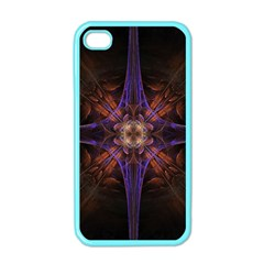 Fractal Cross Blue Geometric Iphone 4 Case (color) by Pakrebo