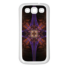 Fractal Cross Blue Geometric Samsung Galaxy S3 Back Case (white) by Pakrebo