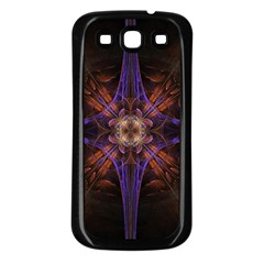 Fractal Cross Blue Geometric Samsung Galaxy S3 Back Case (black) by Pakrebo