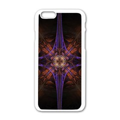 Fractal Cross Blue Geometric Iphone 6/6s White Enamel Case by Pakrebo