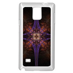Fractal Cross Blue Geometric Samsung Galaxy Note 4 Case (white) by Pakrebo