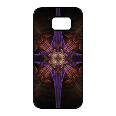 Fractal Cross Blue Geometric Samsung Galaxy S7 Edge Black Seamless Case by Pakrebo