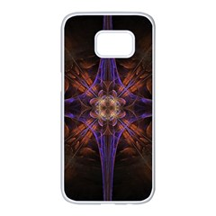 Fractal Cross Blue Geometric Samsung Galaxy S7 Edge White Seamless Case by Pakrebo