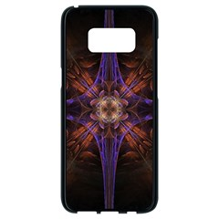 Fractal Cross Blue Geometric Samsung Galaxy S8 Black Seamless Case by Pakrebo