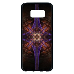 Fractal Cross Blue Geometric Samsung Galaxy S8 Plus Black Seamless Case by Pakrebo