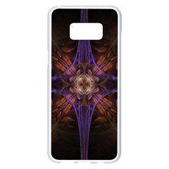 Fractal Cross Blue Geometric Samsung Galaxy S8 Plus White Seamless Case by Pakrebo