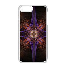 Fractal Cross Blue Geometric Iphone 8 Plus Seamless Case (white) by Pakrebo