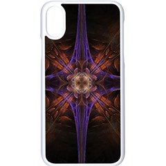 Fractal Cross Blue Geometric Iphone X Seamless Case (white) by Pakrebo