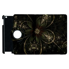 Fractal Gold Green Flower Bloom Apple Ipad 2 Flip 360 Case