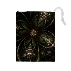 Fractal Gold Green Flower Bloom Drawstring Pouch (large)