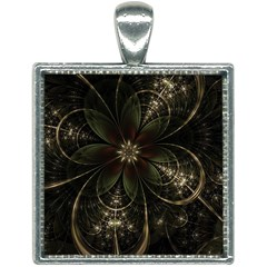 Fractal Gold Green Flower Bloom Square Necklace by Pakrebo