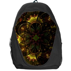 Fractal Flower Fall Gold Colorful Backpack Bag by Pakrebo