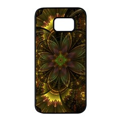 Fractal Flower Fall Gold Colorful Samsung Galaxy S7 Edge Black Seamless Case