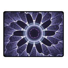 Fractal Feathers Blue Purple Fleece Blanket (small) by Pakrebo