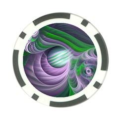 Purple Green Fractal Texture Poker Chip Card Guard