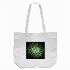Fractal Green Gold Glowing Tote Bag (white)