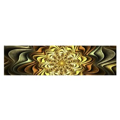 Fractal Flower Petals Gold Satin Scarf (oblong) by Pakrebo