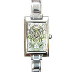 Fractal Delicate White Background Rectangle Italian Charm Watch by Pakrebo