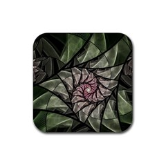 Fractal Flowers Floral Fractal Art Rubber Coaster (square)