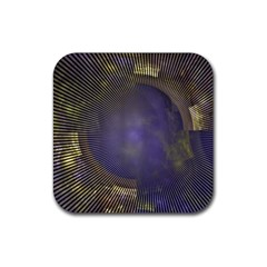 Fractal Earth Rays Design Planet Rubber Coaster (square)  by Pakrebo
