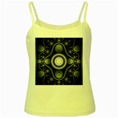 Fractal Beige Blue Abstract Yellow Spaghetti Tank by Pakrebo