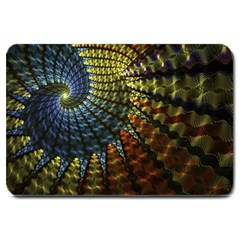 Fractal Spiral Colorful Geometry Large Doormat  by Pakrebo