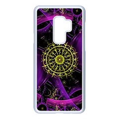 Fractal Neon Rings Geometric Samsung Galaxy S9 Plus Seamless Case(white)