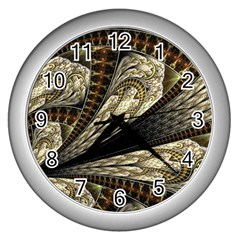 Fractal Abstract Pattern Spiritual Wall Clock (silver)