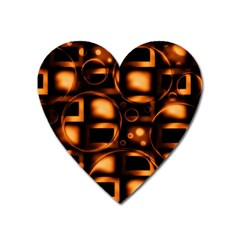 Bubbles Background Abstract Brown Heart Magnet by Pakrebo