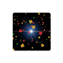Technology Background Pattern Square Magnet