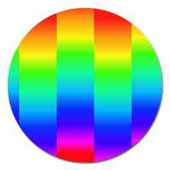 Rainbow Colour Bright Background Magnet 5  (round)
