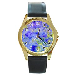 Abstract Blue Round Gold Metal Watch