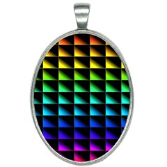 Rainbow Colour Bright Background Oval Necklace by Pakrebo