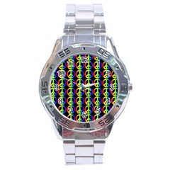Retro Rainbow Gradient Peace Symbol Stainless Steel Analogue Watch