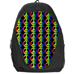 Retro Rainbow Gradient Peace Symbol Backpack Bag by Pakrebo
