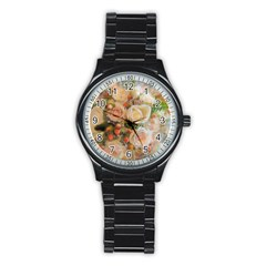 Ackground Flowers Colorful Stainless Steel Round Watch