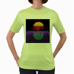 Synthwave Retrowave Synth Women s Green T Shirt