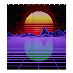 Synthwave Retrowave Synth Shower Curtain 66  X 72  (large)