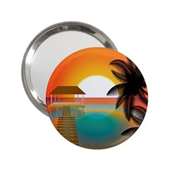 Sunset Beach Beach Palm Ocean 2 25  Handbag Mirrors