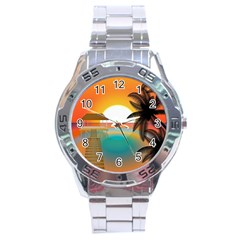 Sunset Beach Beach Palm Ocean Stainless Steel Analogue Watch