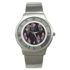 Background Blacks Pinks Stainless Steel Watch
