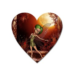 Little Fairy Dancing In The Night Heart Magnet by FantasyWorld7