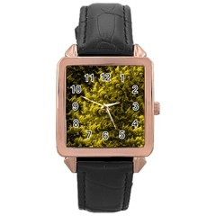 Rich Yellow Digital Abstract Rose Gold Leather Watch
