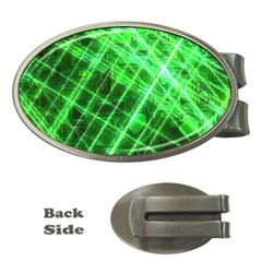 Futuristic Background Laser Green Money Clips (oval)