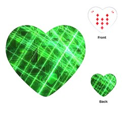 Futuristic Background Laser Green Playing Cards Single Design (heart)