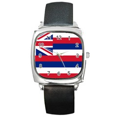 Flag Of Hawaii Square Metal Watch by abbeyz71