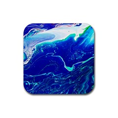 Paint Acrylic Paint Art Painting Blue Rubber Coaster (square)