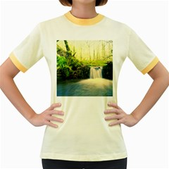 Waterfall River Nature Forest Women s Fitted Ringer T Shirt