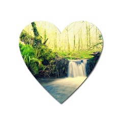 Waterfall River Nature Forest Heart Magnet by Pakrebo