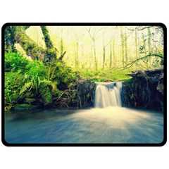 Waterfall River Nature Forest Double Sided Fleece Blanket (large)